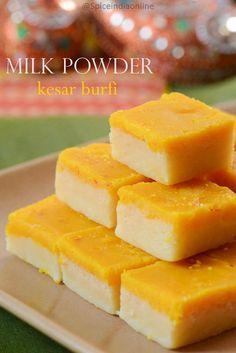 Kesar burfi recipe with milk powder - Milk Powder Burfi — Spiceindiaonline Milk Recipes, Sweets Recipes, Snack Recipes, Diwali Recipes, Cokies Recipes, Recipies, Indian Dessert Recipes, Indian Snacks, Indian Recipes