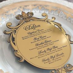 Laser cut gold acrylic menu by Southern Fried Paper - French regal wedding inspiration