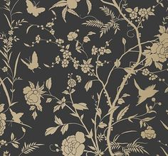 Liang Black with Metallic Gold wallpaper by Thibaut