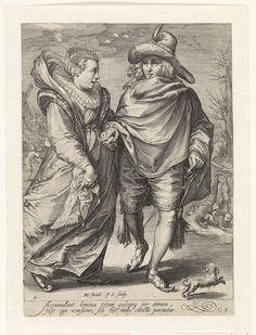 Jan Saenredam   De Winter, Jan Saenredam, Cornelius Schonaeus, 1601   Een jong koppel schaatst hand in hand op het ijs. De figuren zijn elegant gekleed volgens de mode van ca. 1600. Bij hun voeten loopt een hondje over het ijs.