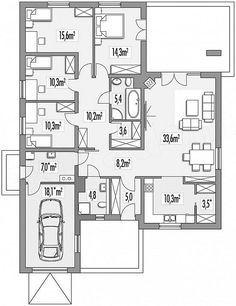 Rzut parteru projektu Ambrozja 2 wersja A parterowa z pojedynczym garażem Floor Plans, Floor Plan Drawing, House Floor Plans