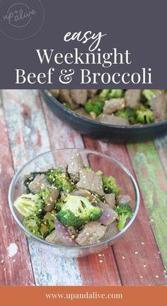 Easy Weeknight Beef & Broccoli Primal Recipes, Beef Recipes, Real Food Recipes, Great Recipes, Dinner Recipes, Healthy Recipes, Broccoli Beef, Broccoli Recipes, Slow Cooker Beef Tenderloin