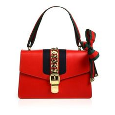 Gucci Sylvie Leather Shoulder Bag ($2,490) ❤ liked on Polyvore featuring bags, handbags, shoulder bags, red, shoulder strap purses, red shoulder bag, gucci purse, leather purses and chain shoulder bag