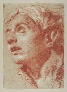 Giovanni Battista Tiepolo: Head of a Young Man in Three-Quarter View Facing Left, Looking Upward (2005.330.7) | Heilbrunn Timeline of Art Hi...