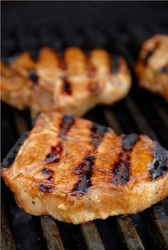 Coffee marinated pork chops- substituted honey+maple syrup for molasses.  Yum! Gotta try this....