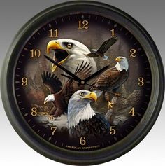 Bald Eagle Collage 16-inch Wall Clock