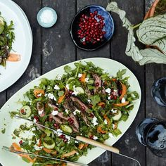 Moroccan Skirt Steak Salad with Chermoula Recipe / Photo by Chelsea Kyle, Prop Styling by Alex Brannian, Food Styling by Anna Hampton Beef Recipes, Salad Recipes, Cooking Recipes, Healthy Recipes, Delicious Recipes, Bacon, Clean Eating, Healthy Eating, Entrees