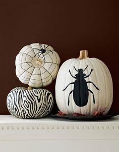 "I don't do Halloween decorating...more traditional ""fall"" type stuff, but I love the graphic nature of these black & white pumkins!"
