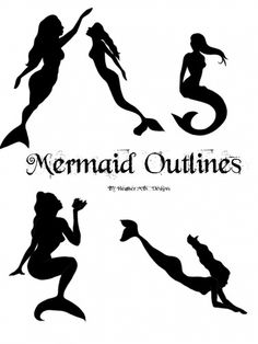 Mermaid Clip Art Black and White | Mermaid Outline Clipart Mermaid outline template