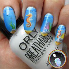 Freehand Seahorse Nail Art