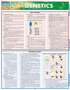 GENETICS QuickStudy® $5.95 Reference for any student studying genetics. #Genetics #Science