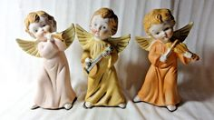 Set of 3 Vintage HOMCO Figurines Angels Playing Music Instruments