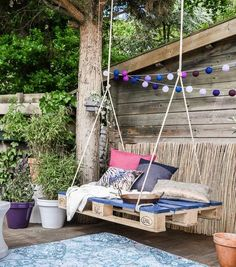 23 Pallet Furniture Ideas- Şaheser Niteliğinde 23 Palet Mobilya Fikirleri The pallets used in the transportation sector are now … - Garden Furniture Design, Pallet Patio Furniture, Furniture Ideas, Garden Design, Playhouse Furniture, Pipe Furniture, Furniture Vintage, Luxury Furniture, Diy Swing