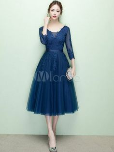 Short Prom Dress V Neck Lace Applique Tulle Cocktail Dress Sleeve A Line Tea Length Party Dress Tea Length Dresses, Short Sleeve Dresses, Dresses With Sleeves, Frock For Teens, Vintage Clothing Styles, Vestidos Color Azul, A Line Skirt Outfits, Chiffon Dress, Tulle Dress