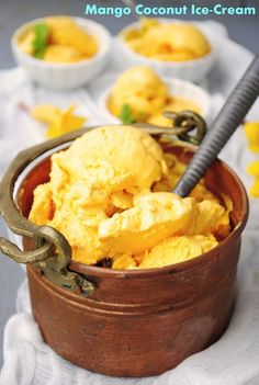 Mango coconut ice cream ~ enjoy the tropical flavors this summer in this extremely easy to put together recipe without any machine.