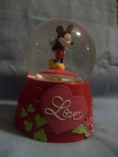 Valentines Day Mickey music box, snow globe