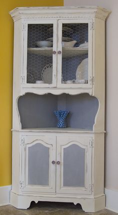 My mom gave me this corner hutch for our kitchen several years ago. Itu0027s  been in our family for