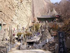 """마이산 탑사 by박석상 """"Tapsa (탑사), in Jinan-gun, Jeollabuk-do, is an example of the amazing accomplishments an individual can achieve when properly motivated. Tapsa is a temple where a man named 'Gapryong Lee', a retired scholar built numerous pagodas one stone at a time over a period of decades. There are some marvelous towers, such as Cheonjitap, Obangtap, Ilgwangtap and Wolgwangtap, which are so tall and massive it's hard to believe they were erected by just one man. It is said that he buil..."""