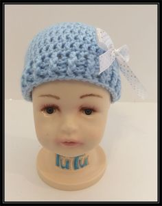 Crocheted Baby Blue beanie with white polka dot Ribbon!!!   Ready to Ship! by ItsNotWeird on Etsy