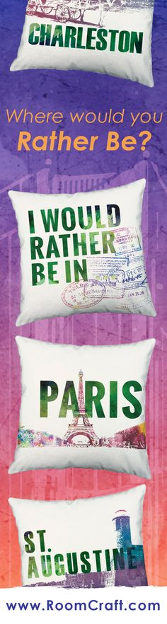 Where would you rather be right now? Have a favorite travel spot? Is your wanderlust setting in? These destination throw pillows will inspire your wanderlust. All of our traveling pillow cover designs are available in multiple colors, sizes and fabrics making it fun and easy to decorate your space. These quality pillow sets are made to order in the USA and feature 3 wooden buttons on the back for closure. Choose your favorite and create a truly unique pillow accent set. #roomcraft