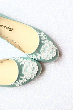 Wedding Flat Shoes Mint Green Satin Bridal Ballet by demetoloji, $78.90