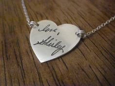 Custom Handwriting Necklace - Made from YOUR loved one's handwriting - Heart Shape - Use old letters, cards, or current hand writing