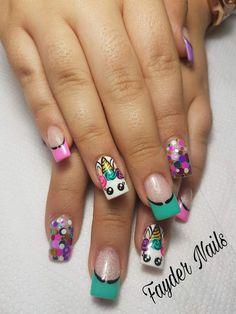 Uñas unicornio Cute Pink Nails, Cute Nail Art, Love Nails, Pretty Nails, Ruby Nails, Unicorn Nail Art, Cute Nail Designs, Perfect Nails, Nails Inspiration