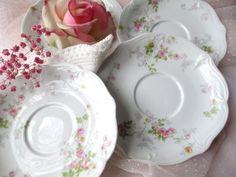 Vintage Limoges Ahrenfeldt Pink Floral Saucers Set by jenscloset