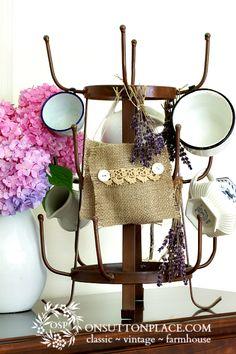 No Sew Burlap Lavender Sachets ~ Easy step by step tutorial.