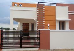 elevations of independent houses Modern Exterior, Exterior Design, Outside Paint Colors, Home Colour Design, Balcony Railing Design, Independent House, House Front Design, House Elevation, Gate Design