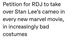 I don't think he should take over, as such, just introduce his own cameos Funny Marvel Memes, Dc Memes, Avengers Memes, Marvel Jokes, Meme Comics, Marvel Actors, Marvel Avengers, Marvel Comics, Marvel Gems