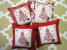 I think I have been working away on these little stitcheries over quite a few years. They are the ones I tended to pick up and take with me when I needed a portable project. These are the Christmas…