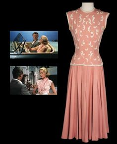 Grace Kelly / To catch a Thief.  This two-piece rose crepe outfit worn by Grace Kelly's character 'Frances Stevens' in To Catch a Thief, 1955 comprises a short-sleeve top which has heavy white wool embroidery, and knee-length full-pleated skirt with drop waist. This is a signature costume for her, as she sweeps Cary Grant away on a fast and sexy scenic drive in a Sunbeam Alpine.   Part of the Debbie Reynolds memorabilia auction, 2011.  Estimate pre auction: $30000 - $50000   #fashion…