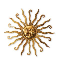 Gold Metal Sun Wall Hanging With Etched Swirl Detail Art