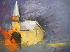 """Daily Painters Abstract Gallery: Small Abstract Painting, Church Painting """"The Safe Place"""" by Carol Schiff, 6x8"""" Oil"""