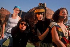 The Original Lineup/Jane's Addiction: Eric Avery, Dave Navarro, Perry Farrell and Stephen Perkins of Jane's Addiction pose for a portrait in Los Angeles, circa 1988 Eric Avery, Stephen Perkins, Perry Farrell, Dave Navarro, Jane's Addiction, Prince Charming, Lineup, Pretty People, Good Music