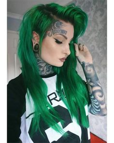 We've gathered our favorite ideas for Pin By Hair Styles On ♠ Scene Hair♠ Dyed Hair Hair, Explore our list of popular images of Pin By Hair Styles On ♠ Scene Hair♠ Dyed Hair Hair in girls with dyed hair tattoos. Green Hair Colors, Hair Color Blue, Cool Hair Color, Edgy Hair Colors, Green Hair Ombre, Teal Hair, Yellow Hair, Scene Haircuts, Coloured Hair