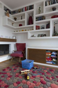 plasterboard shelving, modern interior, colorful interior, colorful living-room, living-room for children