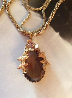 Vintage 1930s 1940s Necklace Double Chain Brown Stone Pendant by GoodGoodyGirlsJewels on Etsy