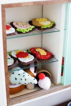 Crocheted play food.