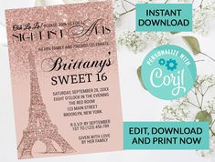 Paris Eiffel Tower Sweet 16 Invitation #97 | Digital INSTANT DOWNLOAD Editable Invite | Rose Gold Sparkle Glitter | Sweet 16 Party Invite by PurplePaperGraphics on Etsy Kids Birthday Party Invitations, Sweet 16 Invitations, Printable Invitations, Hanging Mason Jars, Ball Mason Jars, Sweet 16 Parties, Paris Eiffel Tower, Gold Sparkle, Personalized Wedding