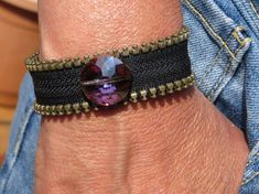 Black Zipper Bracelet with a Multi Colored Glass Faceted Focal Handmade Jewelry