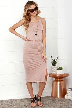 Walk On By Beige Midi Dress at Lulus.com!