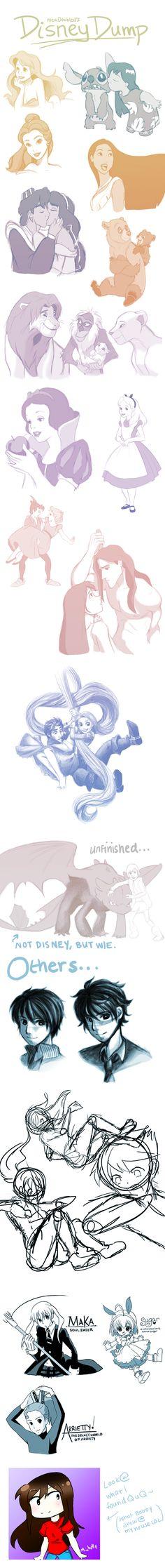 Disney Sketch Dump + Others (Sketchdump 5)  by *mewDoubled
