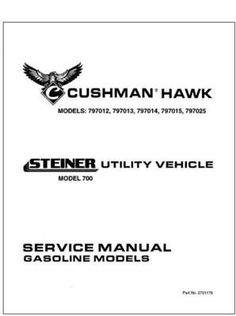 EZGO 2701176 1999 Service Parts Manual for Gas Cushman Utility Vehicle by EZGO. $68.50. Provides detailed and thorough information for the service and maintenance of your vehicles. Used for 1999 gasoline powered cushman hawk utility vehicle. Please search ezgo manuals to find a manual for another vehicle.. Service Parts Manual for E-Z-GO Gasoline Powered 1200 Series Utility Vehicles. Please search ezgo manuals to find a manual for another vehicle.