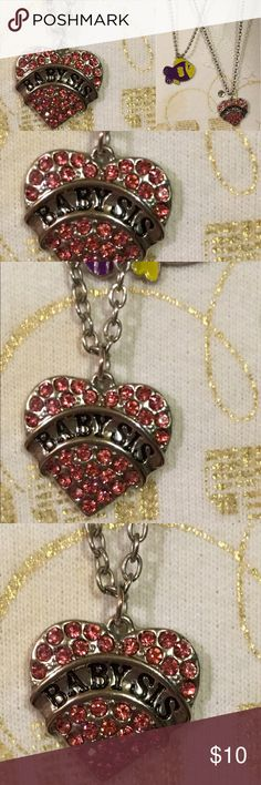 "'Baby Sis' heart pendant necklace 18"" in length with pink crystals Jewelry Necklaces"