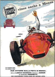A 60's poster celebrating the Dagrada F.Junior powered by #Lancia