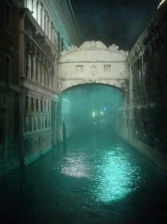 A foggy night at the Bridge of Sighs ~ Venice, Italy