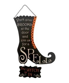Witch is In or Out Boot Sign from The Holiday Barn