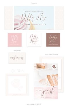 social media branding for dotty rose cakery and sweet treats, wedding professional, wedding business, wedding cake designer, luxury brand styling and web design for female entrepreneurs. Inspiration board of typography, script font, sans serif, serif, pastel color palette, blue, pink, floral inspiration, watercolor, geometric pattern, business owner. instagram, pinterest, blog pin graphic, facebook cover. See more for brand board, mood board and web design.